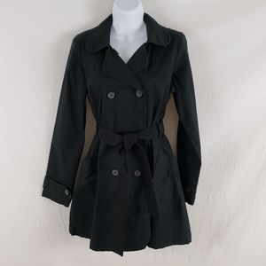 Tulle Trench Jacket Coat XL Double Breasted Black